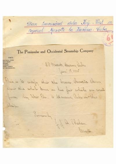 Document prin care se atesta vizita lui Dumitru Dan prin Havana