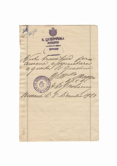 Document care atesta vizita lui Dumitru Dan la chestura din Ancona