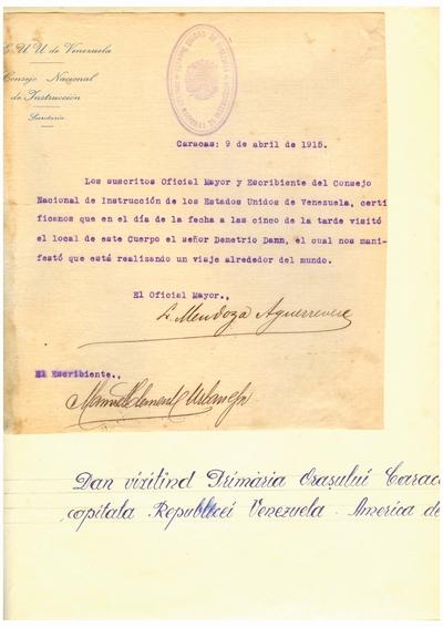 Document prin care se atesta vizita lui Dumitru Dan prin Caracas