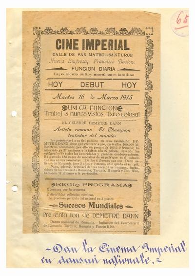 """Document prin care se atesta vizita lui Dumitru Dan prin Puerto Rico, Afisul Spectacolului sustinut de Dumitru               Dan, de la """"Cine Imperial"""", Santurce, San Juan"""