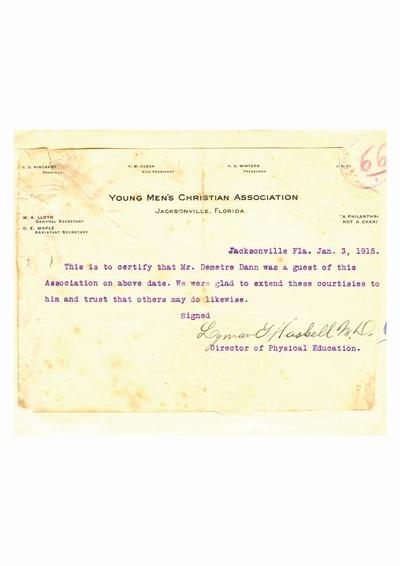 Document prin care se atesta vizita lui Dumitru Dan la Asociatia Tinerilor Crestini, Jacksonville,               Florida