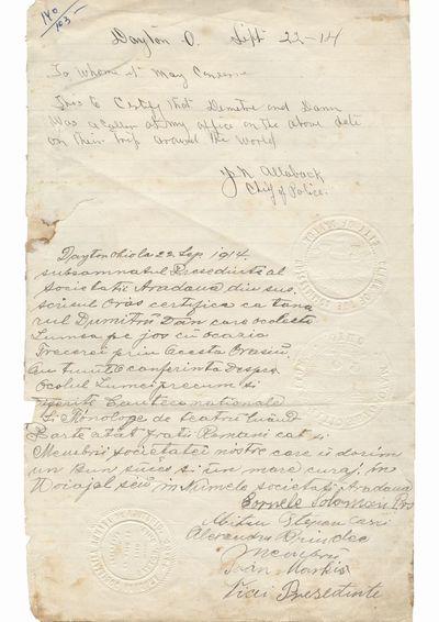 """Document care certifica vizita lui Dumitru Dan la Politia Orasului Dayton si la Societatea romana de ajutor               """"Aradeana"""", Dayton, Ohio"""