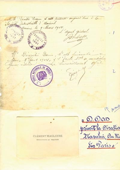1.Document prin care se atesta vizita lui Dumitru Dan prin Amiens 2. Document prin care se atesta vizita lui               Dumitru Dan prin Versailles si Amiens