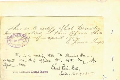 Document prin care se atesta vizita lui Dumitru Dan prin Londra
