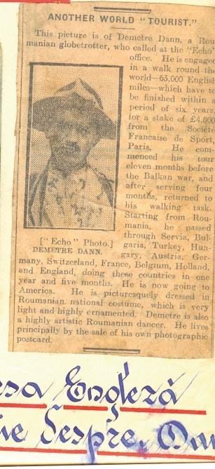 Fragment ziar contine un articol despre Dumitru Dan, redactia ziarului Echo