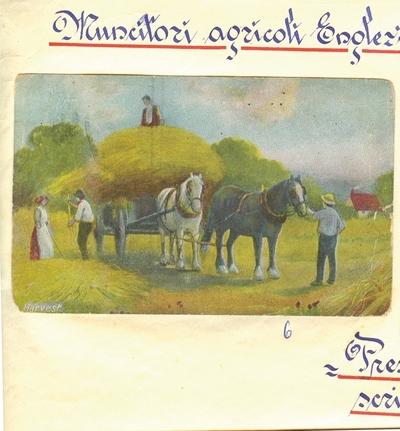 Carte postala color, Harvest – muncitori agricoli englezi, i-a apartinut lui Dumitru Dan