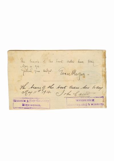 Document prin care se atesta vizita lui Dumitru Dan la Politia orasului Birmingham