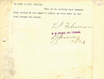 Document prin care se atesta vizita lui Dumitru Dan prin Buffalo