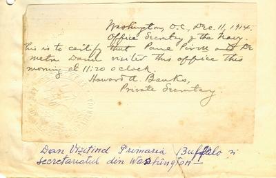 Document prin care se atesta vizita lui Dumitru Dan la Secretariatul din Washington