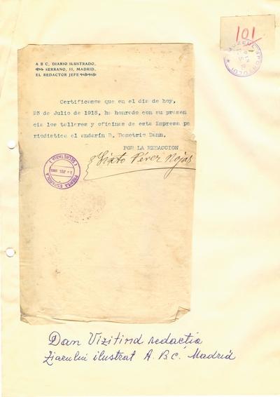 """Document prin care se atesta vizita lui Dumitru Dan prin Madrid, la redactia ziarului """"ABC"""""""