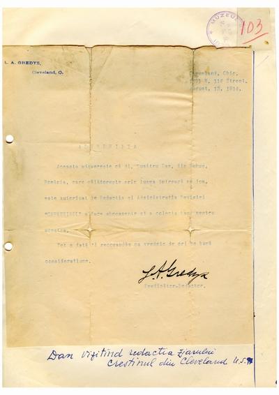 """Document prin care se atesta vizita lui Dumitru Dan la redactia ziarului """"Crestinul"""" din Cleveland,               Ohio"""