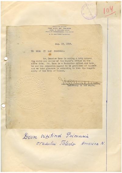 Document prin care se atesta vizita lui Dumitru Dan prin Toledo, Ohio