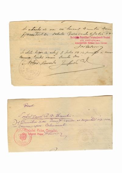 Document prin care se atesta vizita lui Dumitru Dan la diverse institutii din Romania