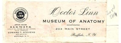 Carte de vizita Doctor Linn Museum of Anatomy, Buffalo, i-a apartinut lui Dumitru Dan