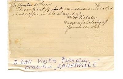 Document care atesta vizita lui Dumitru Dan la Primaria orasului Zanesville