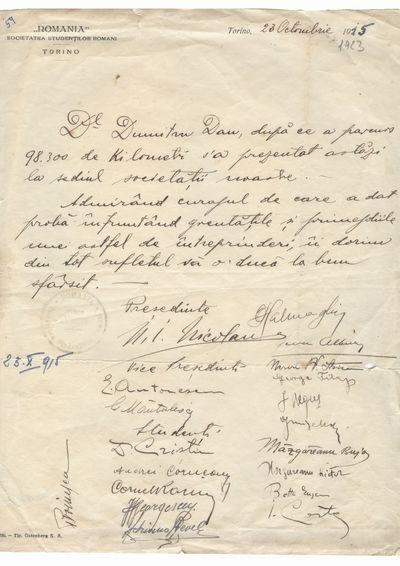 Document care atesta vizita lui Dumitru Dan la Societatea Studentilor Romani din Torino
