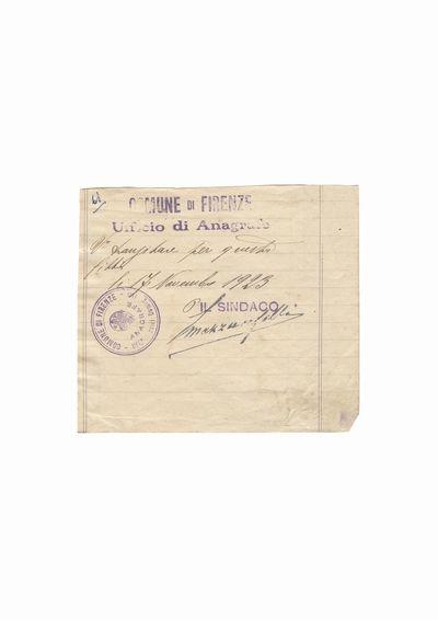 Document care atesta vizita lui Dumitru Dan la primaria municipiului Florenta