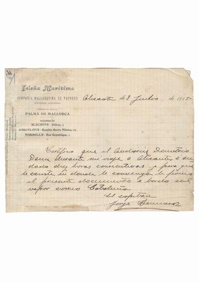 """Document care certifica calatoria lui Dumitru Dan cu vasul """"Cataluña"""", emis de Compania de vapoare Isleña Maritima               Palma de Mallorca, Alicante"""