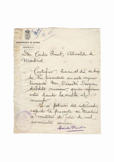 Document care atesta vizita lui Dumitru Dan la Primaria orasului Madrid