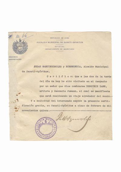 Document care atesta vizita lui Dumitru Dan la primaria municipiului Sancti Spiritus
