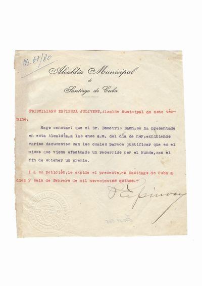 Document care atesta vizita lui Dumitru Dan la primaria municipiului Santiago