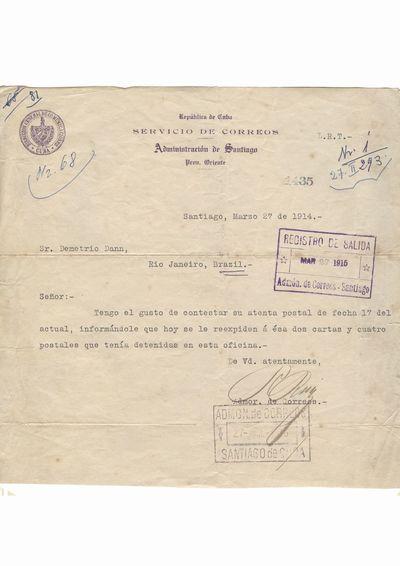 Scrisoare - telegrama expediata dintr-un oficiu postal din Santiago de Cuba, pe numele lui Dumitru Dan in Rio               Janeiro