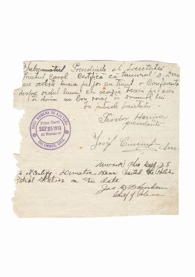 "Document privind vizita lui Dumitru Dan la Societatea Romana de Ajutor ""Printul Karol Al Romaniei"" din Columbus,               Ohio si la politia din Newark, Ohio"