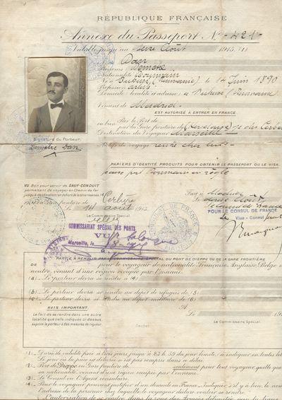 Anexa a pasaportului lui Dumitru Dan