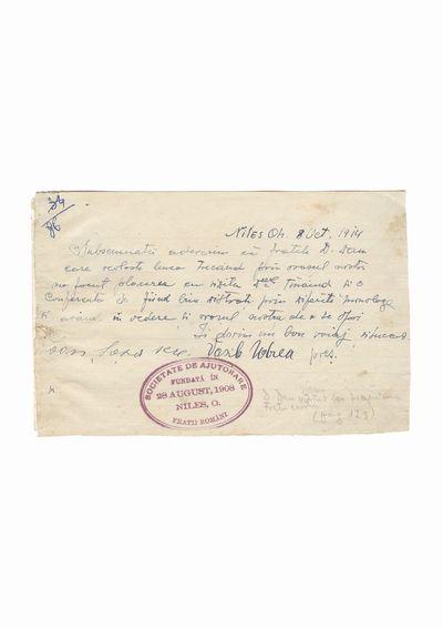 """Document privind vizita lui Dumitru Dan la Societatea de Ajutorare """"Fratii romani"""", Niles, Ohio"""