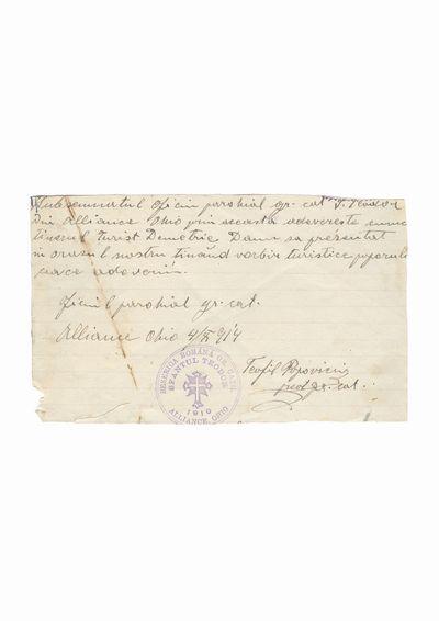 "Document privind vizita lui Dumitru Dan la Biserica Romana greco-catolica ""Sf. Teodor"", Alliance, Ohio"