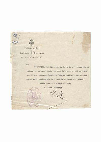 Document privind vizita lui Dumitru Dan la Secretariatul general al Guvernului Provinciei Barcelona