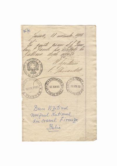 Document privind vizita lui Dumitru Dan la Muzeul National si Galeria Degli Uffizi din Florenta