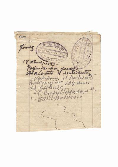 """Document privind vizita lui Dumitru Dan la restaurantul """"Napoleone"""", proprietar Carlos Baldini,               Florenta"""