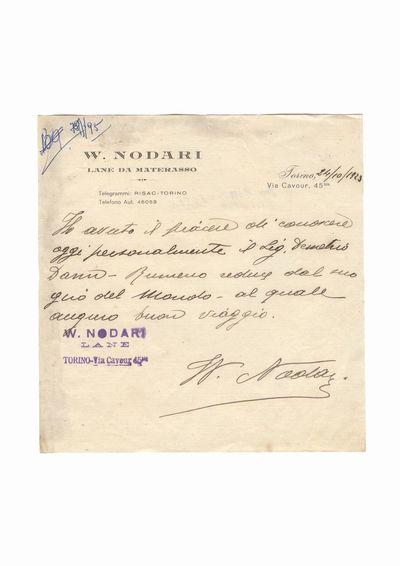 Document privind vizita lui Dumitru Dan la asociatia W. Nodari Lane Da Materasso din Torino, Italia