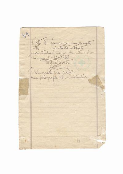 Document privind vizita lui Dumitru Dan la birourile Asociatiei de asistenta publica Crucea Verde din orasul               Rimini
