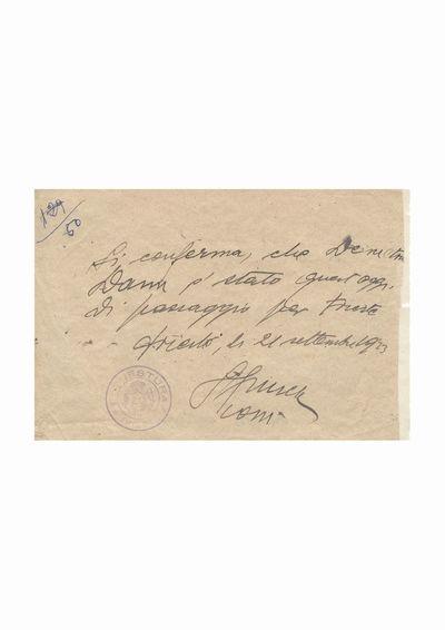 Document privind vizita lui Dumitru Dan la chestura din Trieste