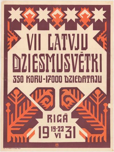 VII latvju Dziesmusvētki Rigā 19-22 VI 1931