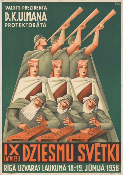 IX latviešu Dziesmu svētki. Valsts prezidenta Dr. K. Ulmaņa protektorātā. Rīgā, Uzvaras laukumā 18.-19.jūnijā 1938