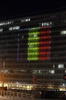 Berlaymont building illuminated with the colours of the Belgian flag to pay tribute to the victims of the terrorist attacks in Brussels