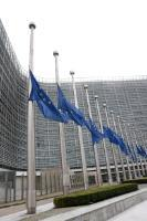 European flags fly at half-mast to pay tribute to the victims of the terrorist attacks in Brussels
