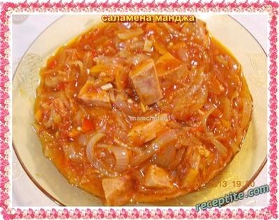 Лучена яхния с колбаси