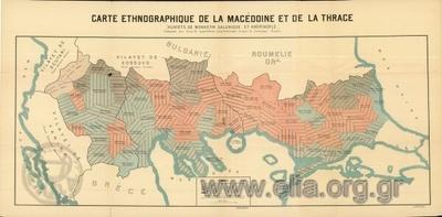 CARTE ETΗNOGRAPHIQUE DE LA MACEDOINE ET DE LA THRACE. VILAYETS DE MONASTIR, SALONIQUE ET ADRINOPLE.