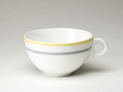 Kaffekopp med gult och grått band