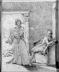 Karl med kedja, som slitit sig från ett bål, hotar sittande man med dolk