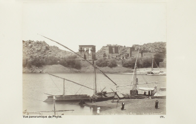Fotografi. Panorama över ön File (Philae) utanför Assuan, Egypten.