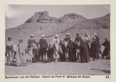 Fotografi. Wilhelmina och Walther von Hallwyl, Henric de Maré, Wilhelm von Geijer och Ida Uhse på väg till Beni Hasan, Egypten.