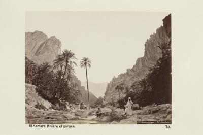Fotografi. Flod och ravin i El Kantara, Algeriet.