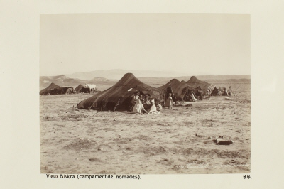 Fotografi. Nomadläger i gamla Biskra, Algeriet.