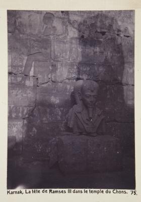 Fotografi. Ramses III:s huvud i Chons-templet. Karnak, Egypten.