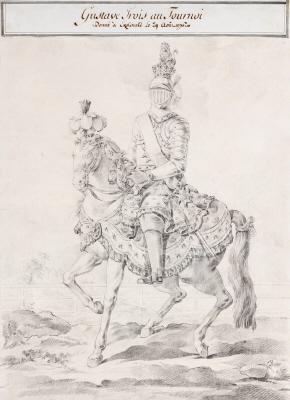 Teckning i svart krita föreställande Gustav III till häst vid tornerspelen på Ekolsund 1776. Utförd av Olof Fredsberg.